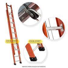 Escada extensiva de fibra e aluminio